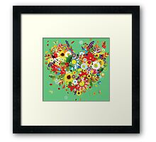 Pretty floral heart Framed Print