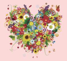 Pretty floral heart Kids Tee