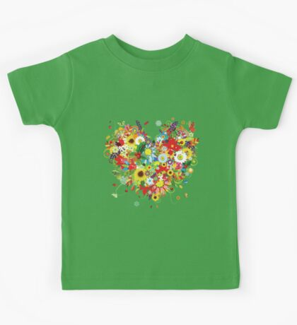 Pretty floral heart Kids Tee