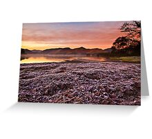 Sunrise over Derwent water on a frosty December morn' Greeting Card