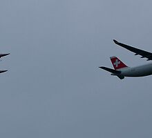 Swiss Airbus 330 and Patrouille Suisse by Frederic Chastagnol