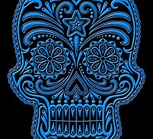 Intricate Blue and Black Sugar Skull by Jeff Bartels