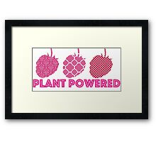 'Plant Powered' Vegan raspberry design Framed Print