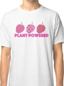 'Plant Powered' Vegan raspberry design Classic T-Shirt