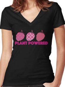 'Plant Powered' Vegan raspberry design Women's Fitted V-Neck T-Shirt