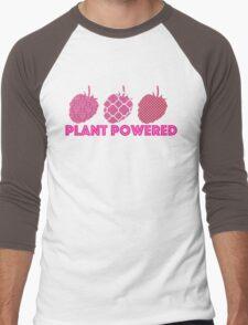 'Plant Powered' Vegan raspberry design Men's Baseball ¾ T-Shirt