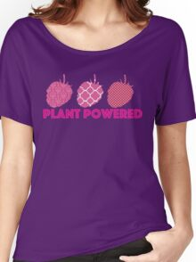 'Plant Powered' Vegan raspberry design Women's Relaxed Fit T-Shirt