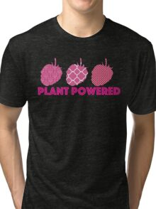 'Plant Powered' Vegan raspberry design Tri-blend T-Shirt