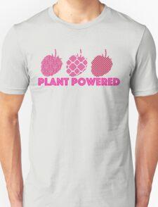 'Plant Powered' Vegan raspberry design Unisex T-Shirt