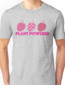 'Plant Powered' Vegan raspberry design Unisex T-Shirt