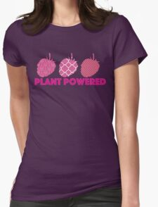 'Plant Powered' Vegan raspberry design Womens Fitted T-Shirt