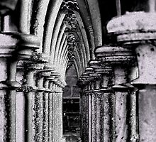 Columns & arches, interior  Mont-Saint-Michel, France by buttonpresser