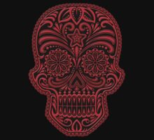 Intricate Red and Black Sugar Skull Kids Tee
