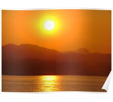 Golden sun over water Poster