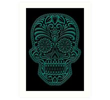 Intricate Teal Blue and Black Sugar Skull Art Print