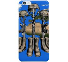 Fallen Soldier Battle Cross Veteran and 9/11 Memorial Wall Painting iPhone Case/Skin