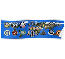 Fallen Soldier Battle Cross Veteran and 9/11 Memorial Wall Painting Poster