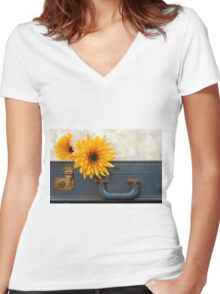 Bouquet of mums sitting on a vintage suitcase Women's Fitted V-Neck T-Shirt
