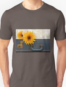Bouquet of mums sitting on a vintage suitcase T-Shirt