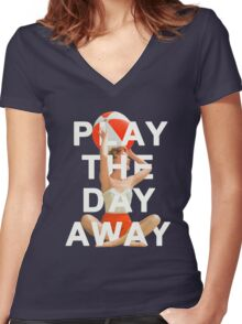 Play The Day Away Women's Fitted V-Neck T-Shirt