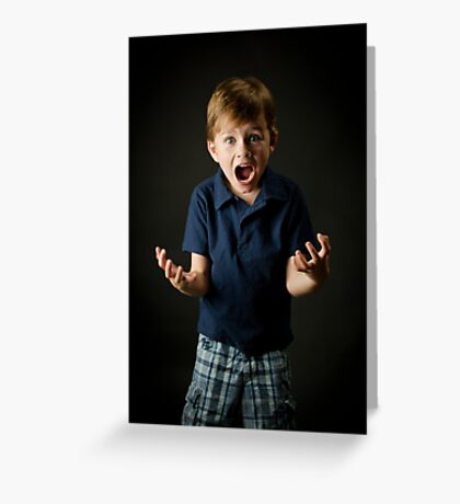 Young boy screaming with emotion Greeting Card