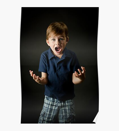 Young boy screaming with emotion Poster