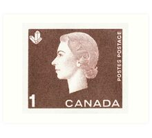 Canada 1963 Queen Cameo Series Postage Stamp - Crystal Art Print