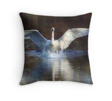 Trumpeter swan landing Throw Pillow