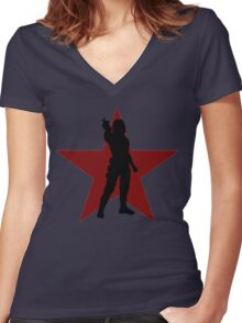 Winter Soldier Silhouette  Women's Fitted V-Neck T-Shirt