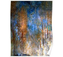 Gold Tree Sky Blue Oil Painting Poster