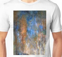 Gold Tree Sky Blue Oil Painting Unisex T-Shirt