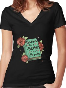 Books > People Women's Fitted V-Neck T-Shirt