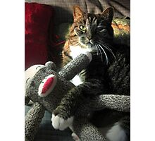 Just hanging with my sock monkey! Photographic Print