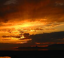 Sunset at  Antelope Island. by JoAnn Glennie