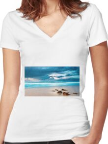Beach Cloud Rocks Oil Painting Women's Fitted V-Neck T-Shirt