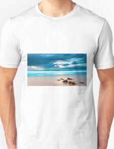 Beach Cloud Rocks Oil Painting Unisex T-Shirt