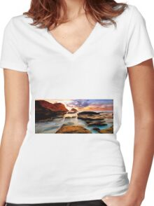 Tide Pool Oil Painting Women's Fitted V-Neck T-Shirt