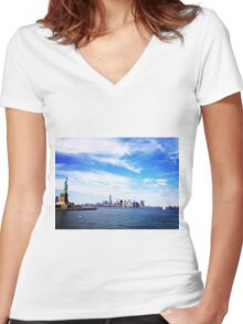 NYC Skyline, Again Women's Fitted V-Neck T-Shirt
