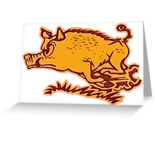 Charging Razorback Greeting Card