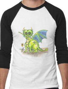 Green Big Eyed Baby Dragon  Men's Baseball ¾ T-Shirt
