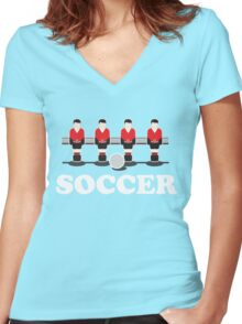 Soccer - Foosball Style Women's Fitted V-Neck T-Shirt