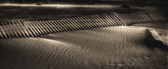 Sand and fence by Jeffrey  Sinnock