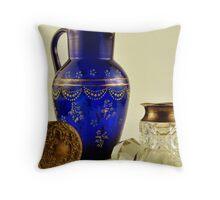 bristol blue glass jug,  Throw Pillow