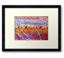 Geometric Tangles (Multicolor Distress Paint) Framed Print
