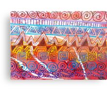 Geometric Tangles (Multicolor Distress Paint) Metal Print
