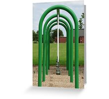Green symmetry on a playground Greeting Card