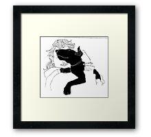 bull terrier hug Framed Print