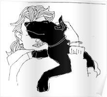bull terrier hug Poster