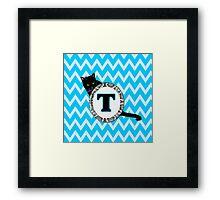 T  Cat Chevron Monogram Framed Print