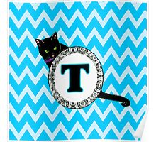 T  Cat Chevron Monogram Poster